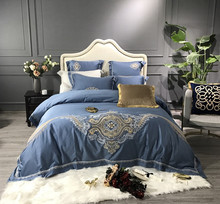 Luxury European Royal Embroidery 80S Egyptian Cotton Blue Red Black Palace Bedding Set Duvet Cover Bed sheet/Linen Pillowcases