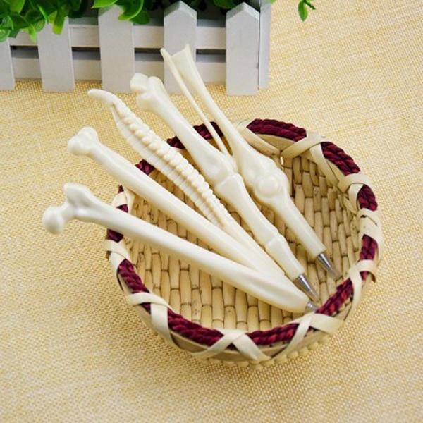 5PCS Pen Writing Supplies Bone Shape Ballpoint Pens Wholesale New Creative Gift...