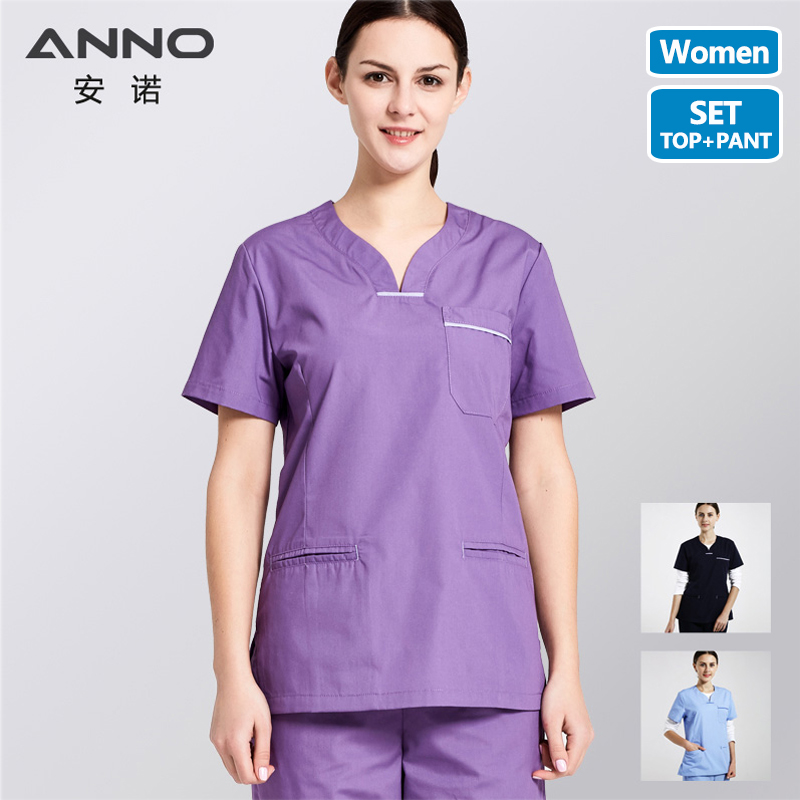 ANNO Medical Body Medical Clothing Women Hospital Nurse Uniform Surgical Nursing Scrubs Set include Tops Pants