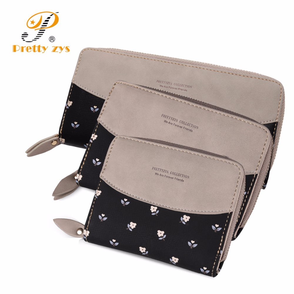 3 SIZE Women's Floral Leather Wallet Fashion Patch Work Zipper Phone Change Card Clutch Wallets For Girls Coin Purses Holders