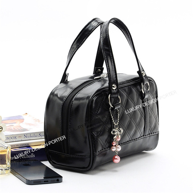Luxury Black Grid Texture Hand bag style Cosmetic Bag Travel Organizer Toiletry Multi function Bag