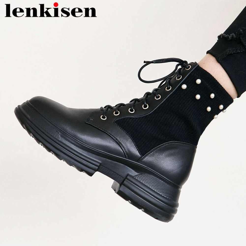 Lenkisen 2018 da chính hãng cao nền tảng dưới ngọc trai trang trí đan ngón chân vòng cao dưới căng mid-bê khởi động L0f8