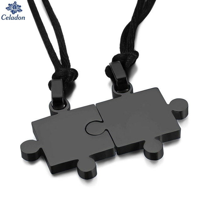 Smooth puzzle couple pendant necklace male and female models couple jewelry nylon rope necklace distribution black rope