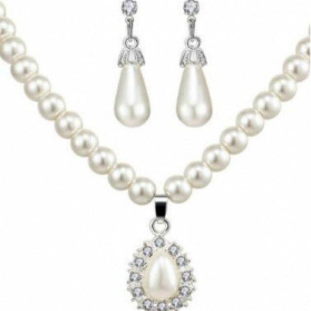 2018 Fashion Emulation Perle Halskette/Ohrringe Schmuck Set Für Frauen Braut Set Hochzeit Joyme
