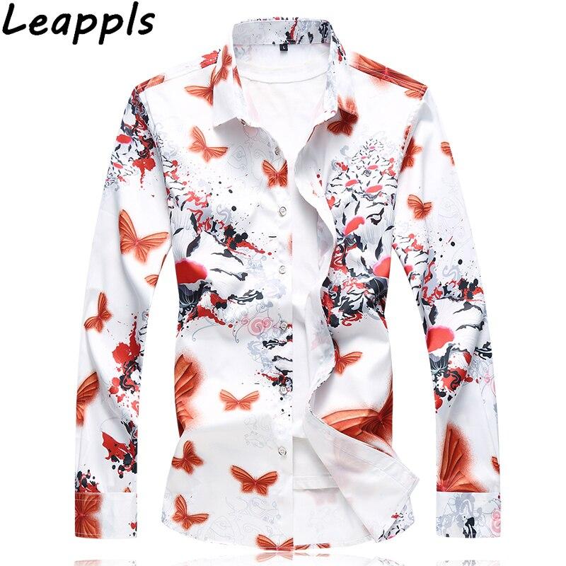 Leappls Plus Size 6XL 7XL Shirts Men Dress Casual Long Sleeve Men Shirt Camisa Social Hawaiian Shirt Male Printing Shirts
