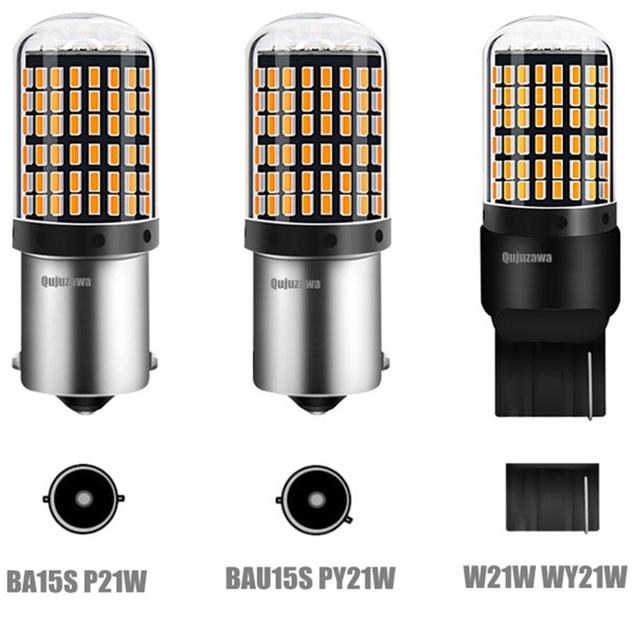 1PC T20 7440 W21W LED Bulbs 3014 144smd led CanBus No Error 1156 BA15S P21W BAU15S PY21W led lamp For Turn Signal Light No Flash