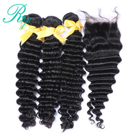 Riya Hair Loose Deep Wave Bundles With Closure Human Hair 3 Bundle Lace Closure Remy Brazilian