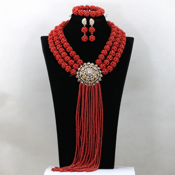 Hawthorn Red African Bridal Crystal Balls Necklace Set Women Jewelry Set Red Amerian Indian Jewelry Set Free Shipping WA582