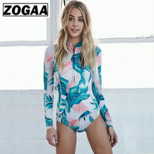ZOGAA ZOGGA 2019 Summer Floral Printing Long Sleeve Women Bikini 100%Polyester