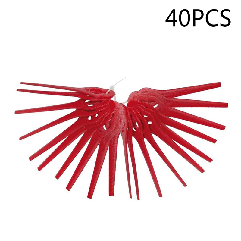 40pcs Red Replace Plastic Blades Pendants Cutter For Cordless Grass Trimmer Brushcutter Garden Tool Accessories