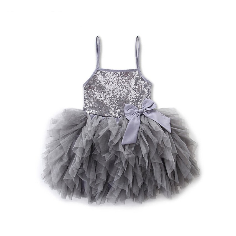 Baby Girl Dress Gold Sequined Lace Sling Grey Tutu Dresses For Girls Party Wedding Dress vestido infantil Baby Girl Clothing