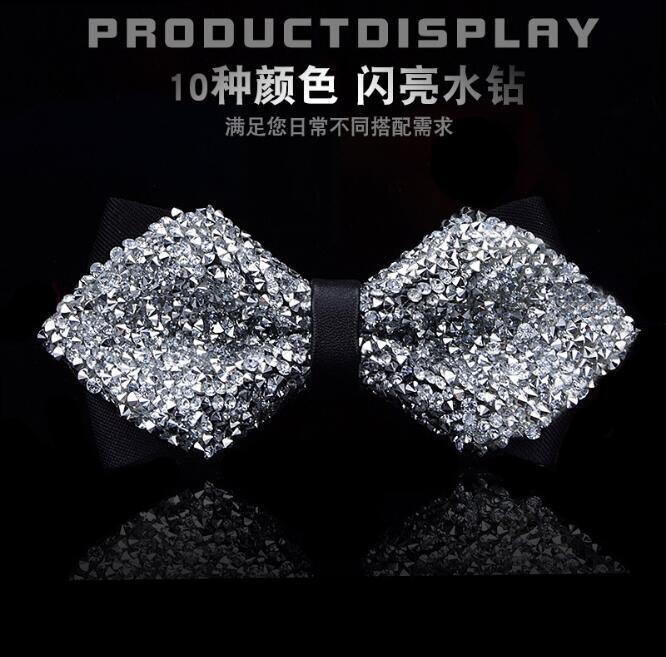 15PC Men Boys Stylish Tie Glitter Crystal Rhinestone Butterfly Adult Splendid Adjustable Tuxedo Bow Tie for Wedding Dress Luxury