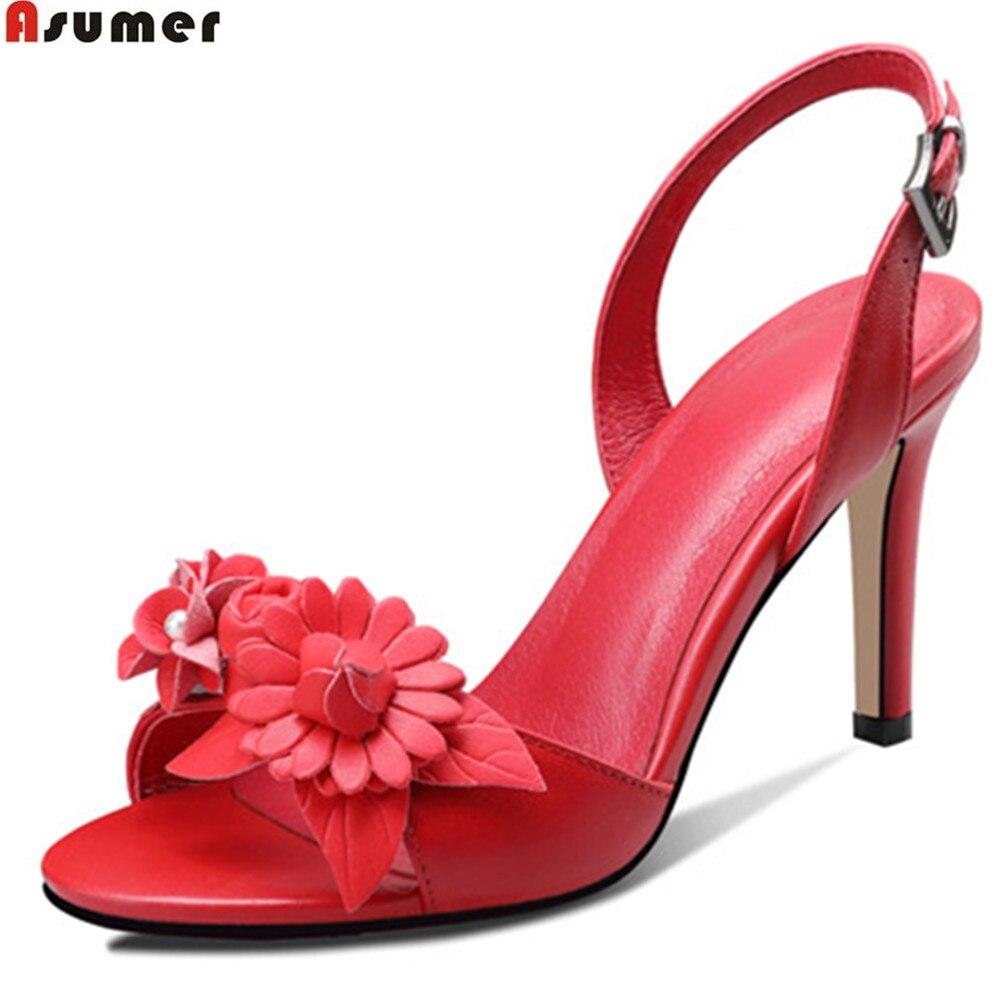 ASUMER black red white fashion summer new arrival ladies wedding shoes buckle elegant women genuine leather high heels sandals