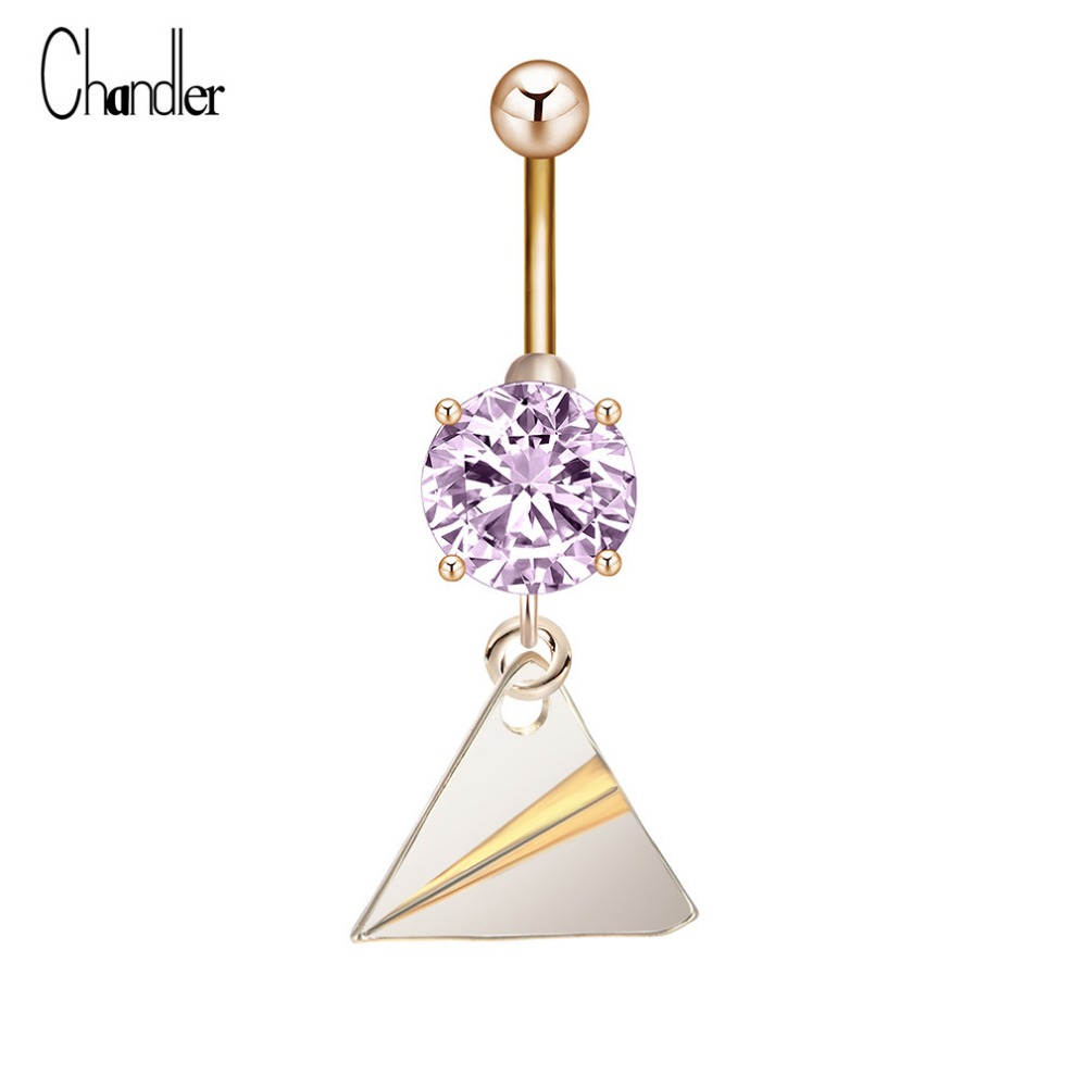 Us 0 92 50 Off New Arrival Triangle Shape Dangle Belly Button Ring Femme Bijoux Punk Geometry Crystal Surgical Steel Piercing Umbilical Nail In Body