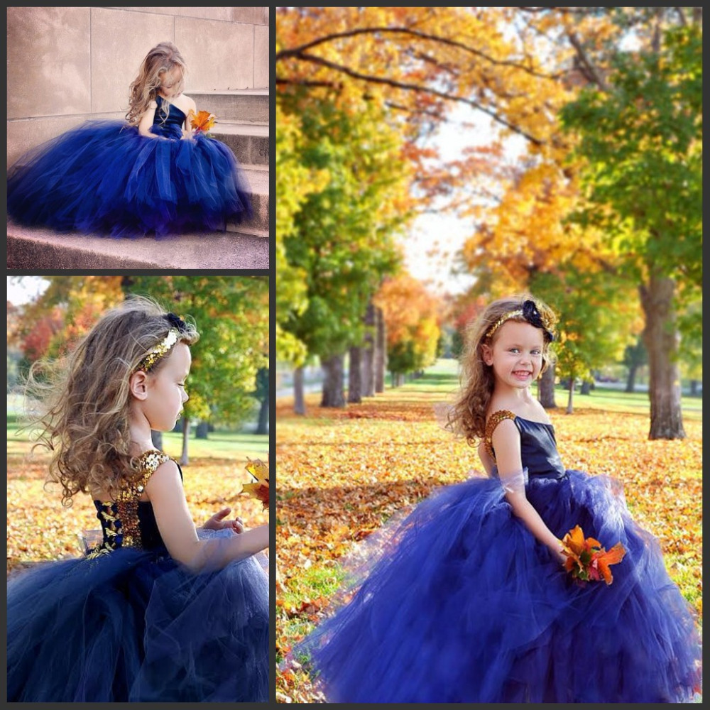 One Shoulder Royal Blue Childrens Dresses For Wedding Puffy Tulle
