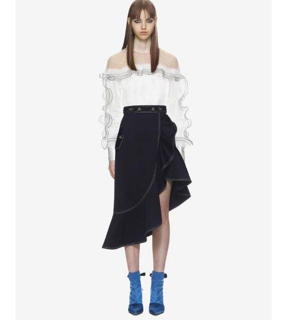 4e534297dc250 SS18 Self Portrait Spring Women White Ruffle Trim Top And Asymmetric  flounced hem Midi Skirt 2 pics Set