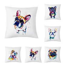 YWZN Creative Dog Cushion Cover French Bulldog Printing Throw Pillow Case Bulldog Cushion Cover Home Decoration Pillowcase(China)