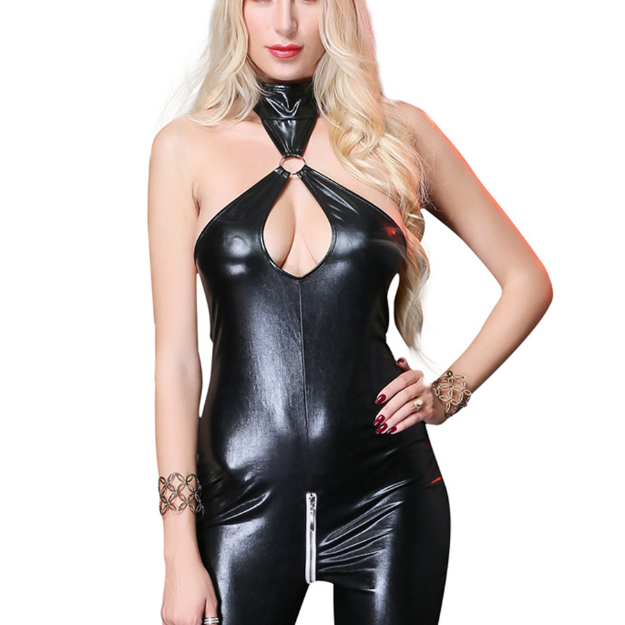 Sexy Faux Leather Rompers Womens Jumpsuit Halter Zipper Skinny Pants Bodycon Teddy Lingerie Fetish Latex Catsuit Black 2019 in Teddies Bodysuits from Novelty Special Use