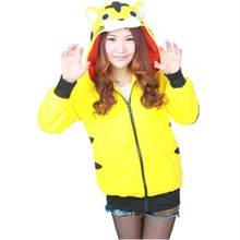 Cartoon Yellow Tiger Sweatshirts Long sleeve with zipper hat Cosplay Tigger Costume Men Women Hoodies Animal Cosplay Sweatshirts