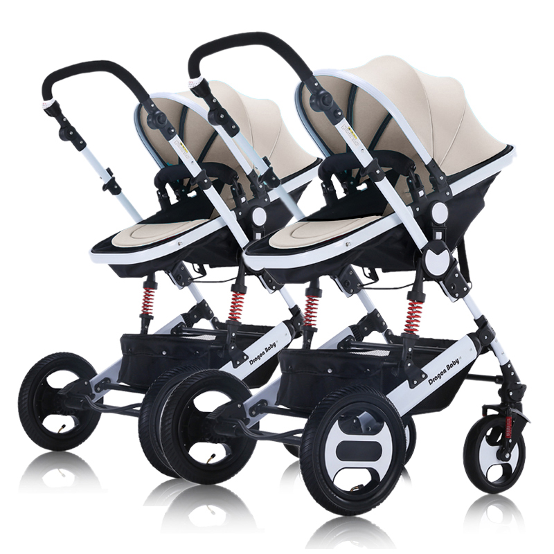Dragon,twin baby stroller, can sit and can lie down,high landscape baby stroller, convenient folding, damping baibos bai twin landscape baby stroller double front and rear can lie sit