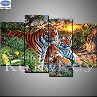 Animals Tiger Diy 5D Diamond Embroidery Tiger Full Square Diamond Mosaic Stickers Diamond Painting 4pcs Cross