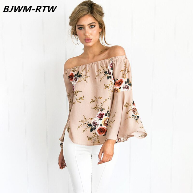 20abadd0d18 Casual Off Shoulder Slash Neck Flare Sleeve Chiffon Tops Women 2019 Spring  Long Sleeve Women Tops