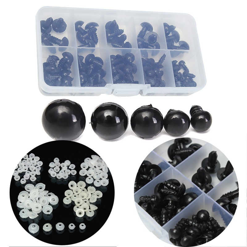 New Arrival 6-12mm Black Plastic Safety Eyes For Doll Animal Crafts Box Doll Cartoon Animal Puppet Crafts Wholesale 100pcs/box wiben animal hand puppet action