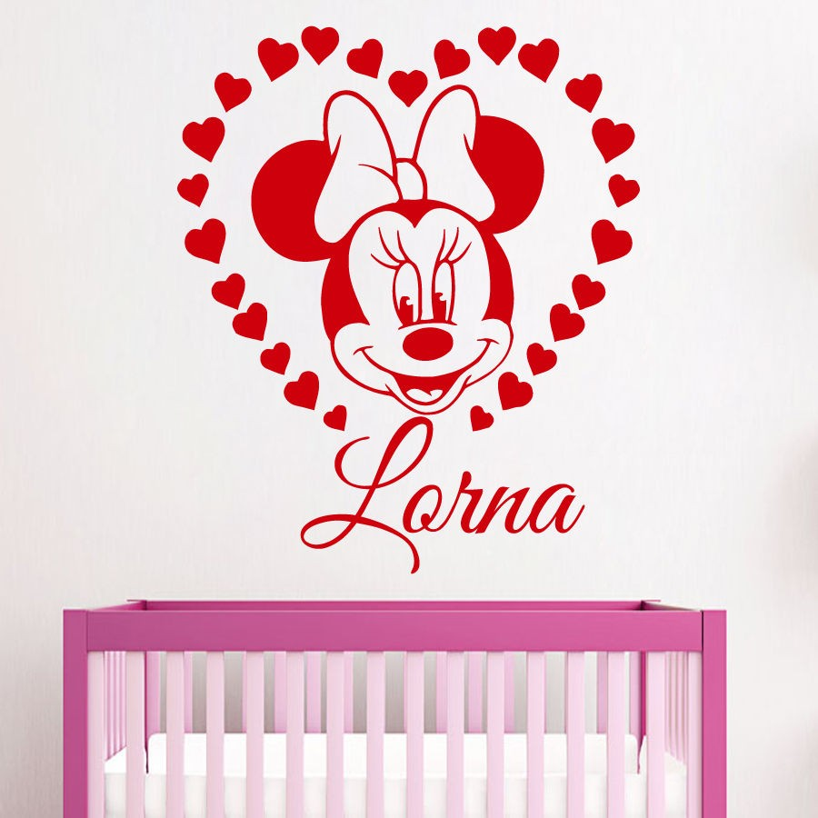 Customized name Home Decor Wall Decals Cute Cartoon Minnie Mouse Nursery Kids Room Removable Vinyl Wall Sticker M762