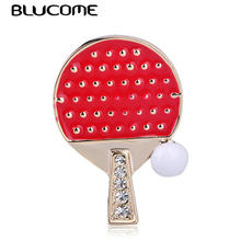 Blucome Vivid Ping Pong Paddle Table Tennis Ball Shape Brooches Pins Red Enamel Gold Brooch Jewelry For Sports Women Men Gifts(China)