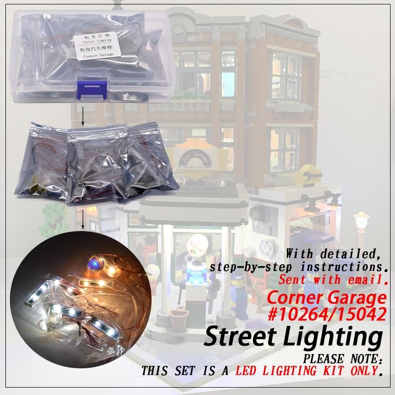 Ensemble de lumière LED (seulement lumière incluse) pour 10264 coin Garage Compatible 15042 Streetview créateur blocs de construction brique