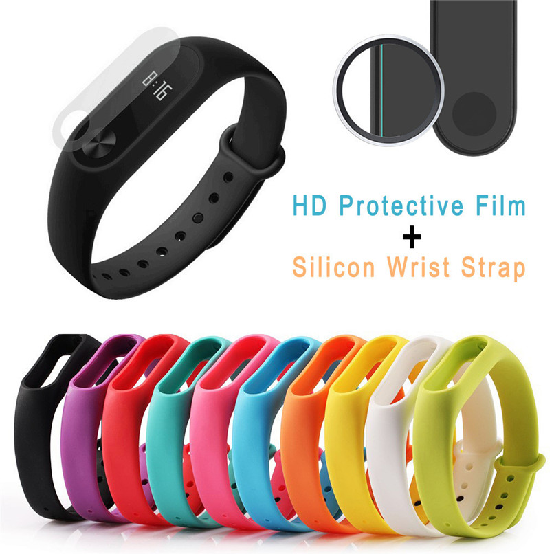 Silicon Wrist Strap WristBand & 2PCS 0.1mm HD Protective Film For Xiaomi Miband2 Free Shipping H0T0
