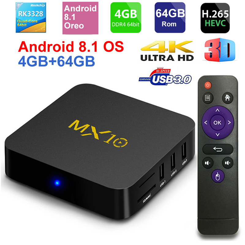 MX10 Smart ТВ коробка Android 8,1 Rockchip RK3328 DDR4 4 ГБ ОЗУ 64 ГБ Rom IP ТВ смарт-top BOX 4 К USB 3,0 HDR H.265 Media Player окно