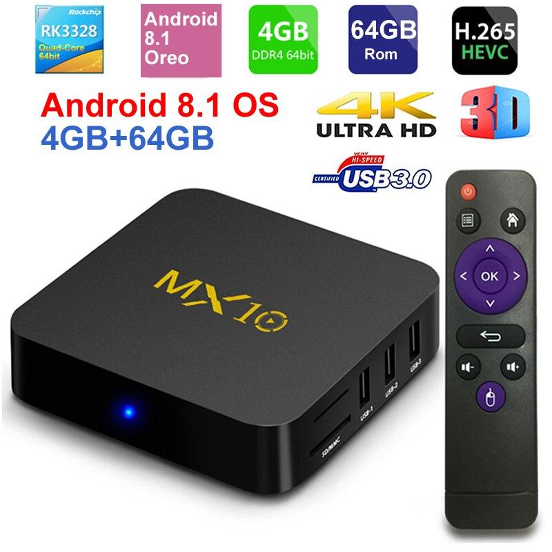 MX10 Smart TV caja Android 8,1 Rockchip RK3328 DDR4 4 GB Ram 64 GB Rom IPTV Set-top caja 4 K USB 3,0 HDR H.265 Media del jugador
