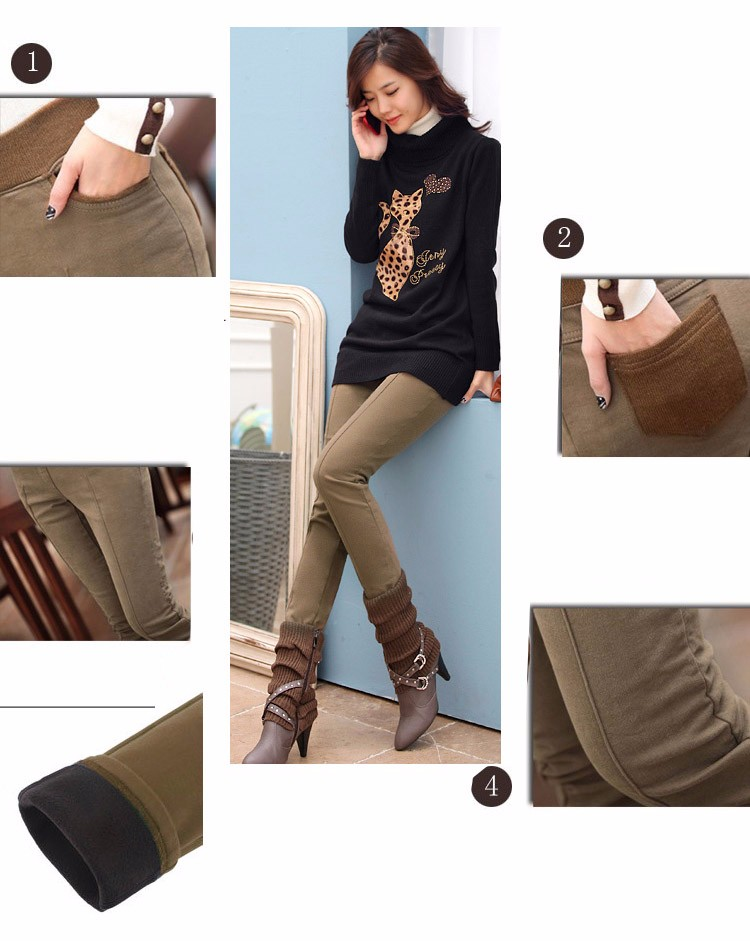 Plus Size 4XL Boot Cut Pants Winter Autumn Warm Trousers Elastic Waist Slim Casual BlackKhakiCoffe Leggings Pants 2016 A587 b