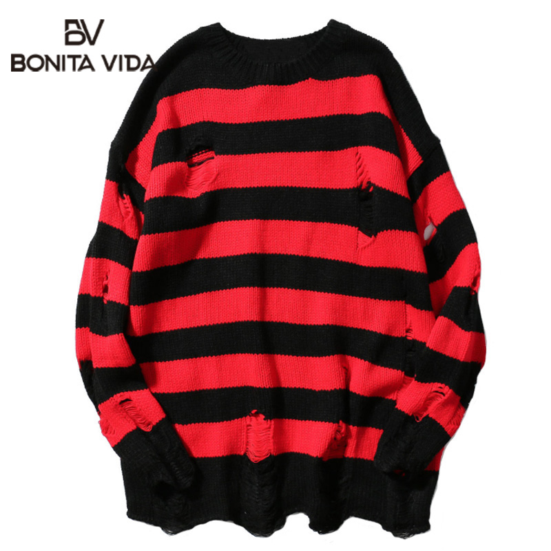 Bonita Vida Hole Loose Streetwear Mens Sweaters For 2020 Autumn Winter Ripped Stripe Casual Pullover Hip Hop Long Sweater
