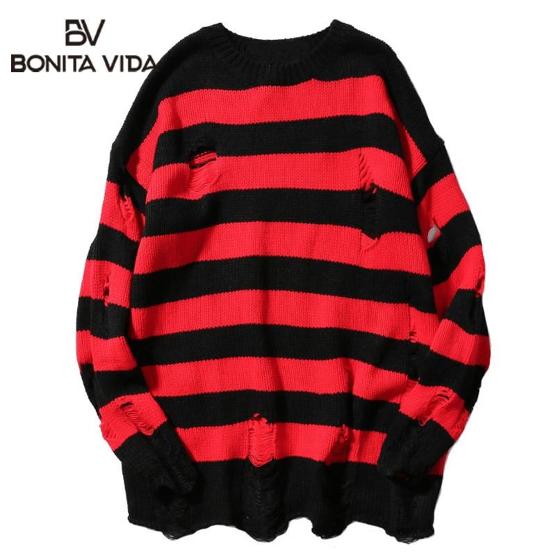 Bonita Vida Hole Loose Streetwear Mens Sweaters For 2020 Autumn Winter Ripped Stripe Casual Pullover Hip Hop Long Sweater