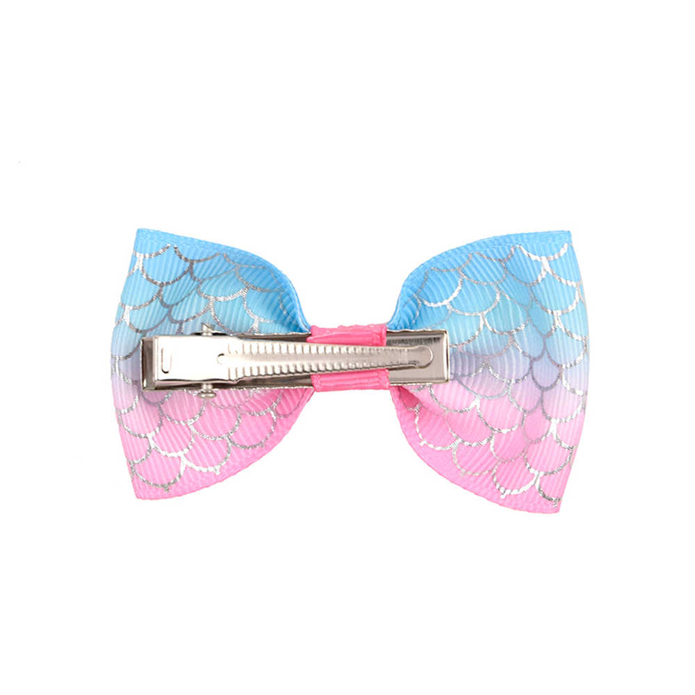 20 Colors 1 pcs Kids Unicorn Small Bowknot Hairgrips Mini Colorful Ribbow Bow Safety Children Clips Hair Accessories 032
