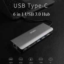 Wiwu 6 in 1 usb 3.0 허브 macbook pro air 다기능 usb type c 4 k 비디오 hdmi/rj45 usb 허브 3.0 어댑터 충전 포트 허브