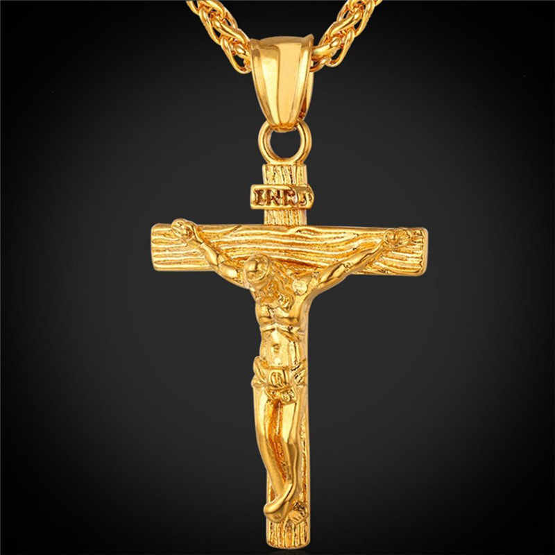 FANALA Men Women Necklaces Jesus Cross Female Pendant Necklace jewelry Stainless Steel Floating Locket Charms Christian Crucifix