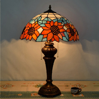 Hot Sale American Pastoral Creative Tiffany Sunflower Tablet Living Room Restaurant Bedroom Table Lamp European Retro