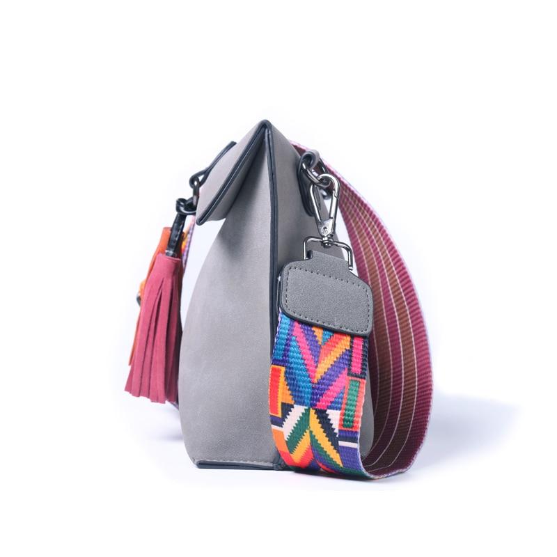 Daunavia Women Leather Bags Designer Tassel Crossbody Bag With Colorful Strap Shoulder Female Handbags Messenger In Top Handle From
