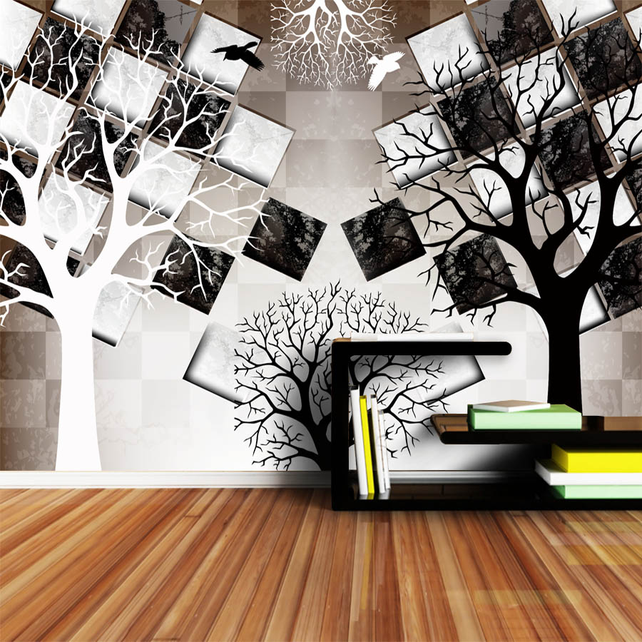 ShineHome Large 3d Mural Black White Tree Brick Wallpaper Wall