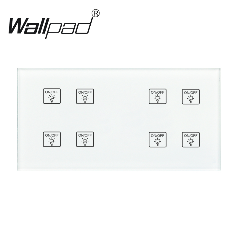 8 Gang 2 Way Switch Wallpad 110-250V 172*86mm Crystal Glass Panel Customize 4 Gangs + 4 Gangs Double Control Touch Sensor Switch8 Gang 2 Way Switch Wallpad 110-250V 172*86mm Crystal Glass Panel Customize 4 Gangs + 4 Gangs Double Control Touch Sensor Switch
