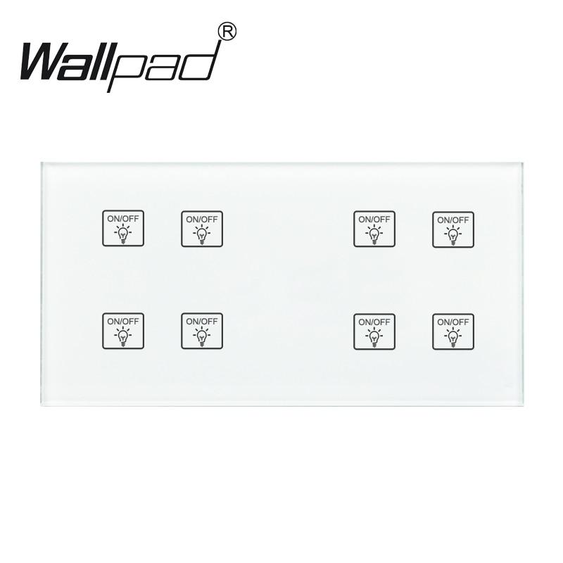 8 Gang 2 Way Switch Wallpad 110-250 v 172*86mm Panneau Verre Cristal Personnaliser 4 Gangs + 4 Gangs Double Contrôle Tactile Capteur Interrupteur