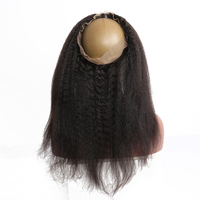 Kinky Straight 360 Lace Frontal Closure Brazilian Remy Hair With Ajustable Band Pre Plucked With Baby Hair Sunny Queen Hair