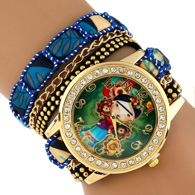 Gnova Platinum TOP Large Strap BIG Dial Native Ethnic Style mexican Girl Flowers