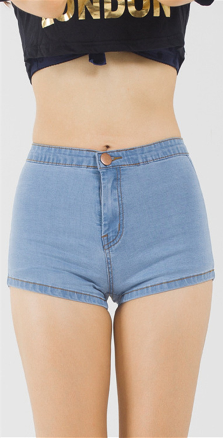 tight jean blue shorts Girls in