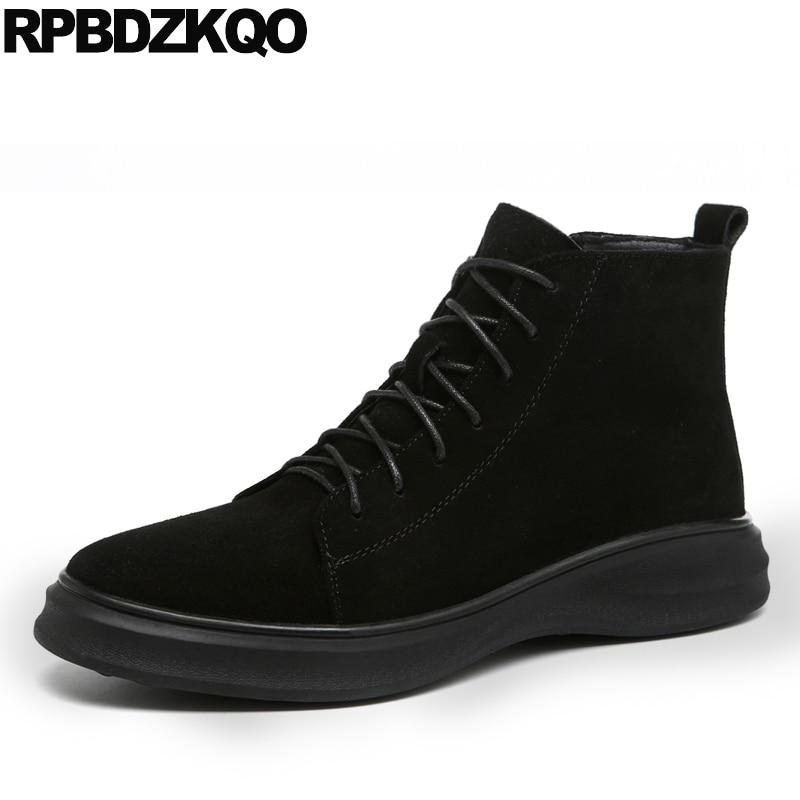 stivali stivaletti trainer piattaforma alta sneakers pelliccia uomo stivaletti neri suola alta spessa scarpe alte Harajuku