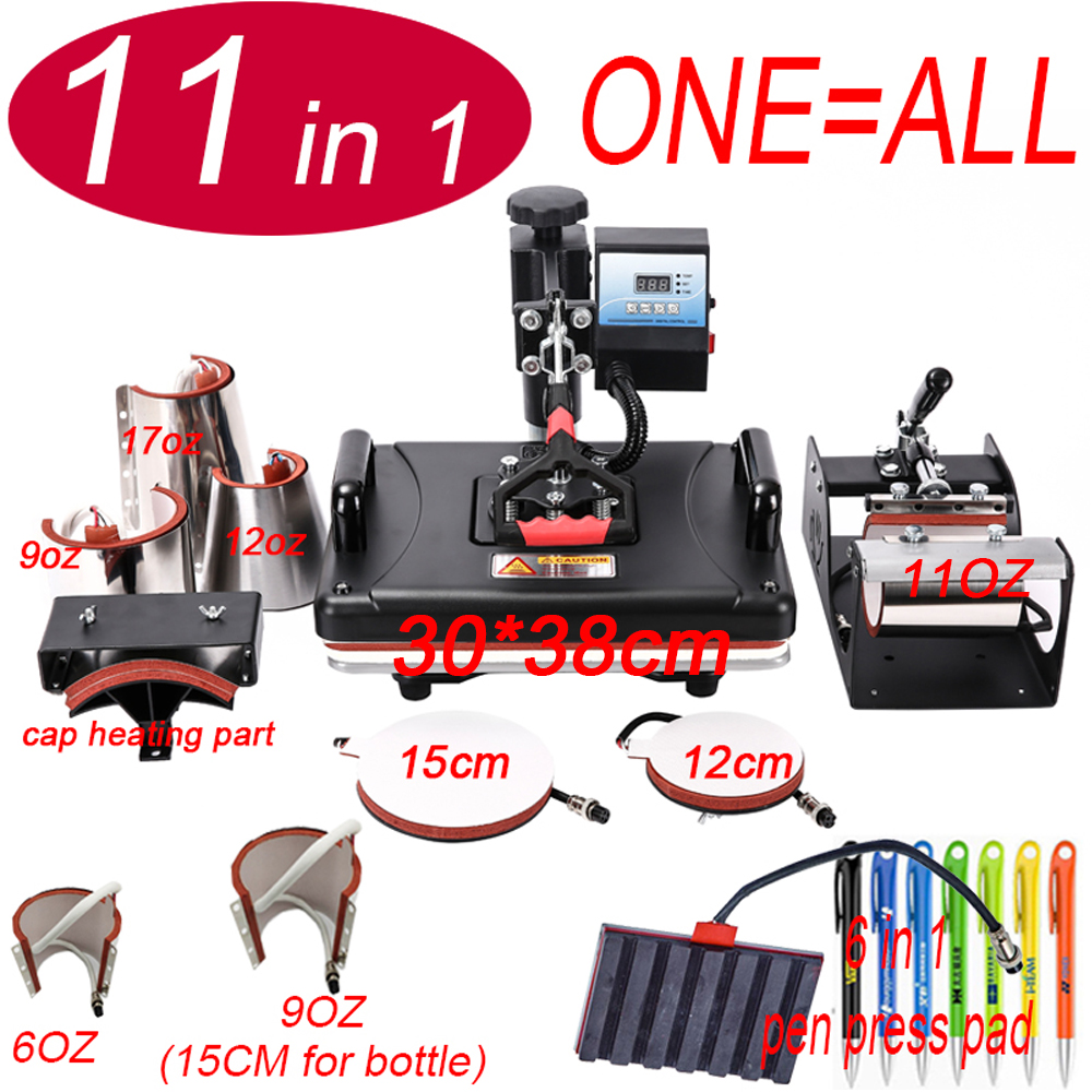 11 In 1 Heat pen Press Machine,Sublimation Printer/pen Transfer Machine Heat Press For Mug/Cap/T shirt/Phone case/bottle/pen(China)