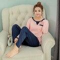 Conjuntos mulheres pijama de algodão Outono e inverno de Manga Comprida pijamas de femme mujer homewear M L XL XXL casa terno pijama Plus Size
